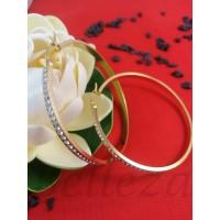 Дамски обеци тип - халки със златна баня от медицинска стомана и цирконий E - 21678
