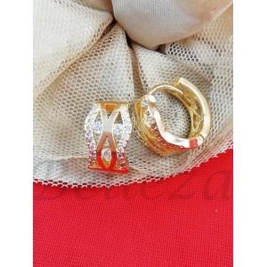 Дамски обеци със златна баня от медицинска стомана и цирконий E - 21680