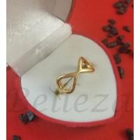 Дамски пръстен със златна баня от медицинска стомана R - 609