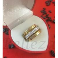 Пръстен тип халка със златна баня от медицинска стомана и шамбала мотив R - 608