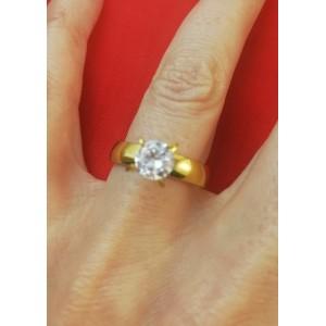 Дамски пръстен със златна баня от медицинска стомана R - 610