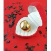 Дамски пръстен със златна баня от медицинска стомана R - 603