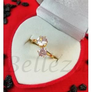 Дамски пръстен със златна баня от медицинска стомана и цирконий R - 402