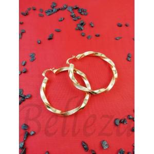 Дамски обеци тип - халки със златна баня от медицинска стомана E - 21686