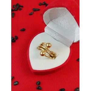 Дамски пръстен със златна баня от медицинска стомана R - 611