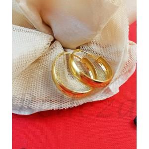 Дамски обеци тип - халки със златна баня от медицинска стомана E - 21671