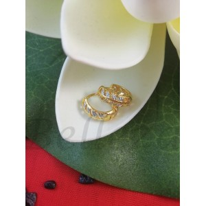Дамски обеци тип - халки със златна и сребърна баня от медицинска стомана E - 21672