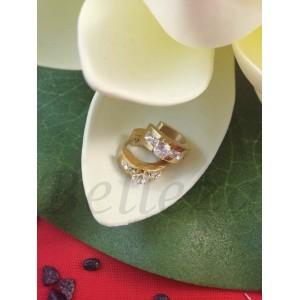 Дамски обеци със златна баня от медицинска стомана и цирконий E - 21675
