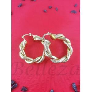 Дамски обеци тип - халки със златна баня от медицинска стомана Е - 21656