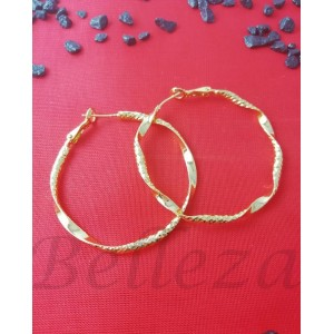 Дамски обеци тип - халки със златна баня от медицинска стомана E - 21659