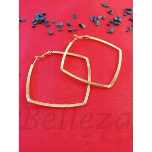 Дамски обеци тип - халки със златна баня от медицинска стомана E - 21663