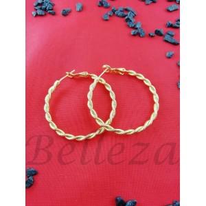 Дамски обеци тип - халки със златна баня от медицинска стомана E - 21657
