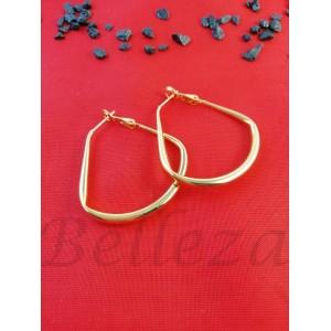 Дамски обеци тип - халки със златна баня от медицинска стомана E - 21662
