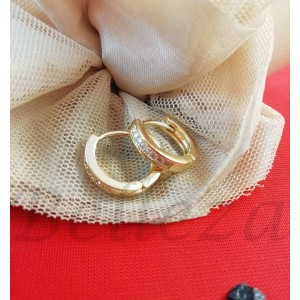 Дамски обеци със златна баня от медицинска стомана и бели цирконий E - 21623