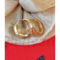 Дамски обеци със златна баня от медицинска стомана и цирконий E - 21685