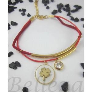 Дамска гривна със златна баня от медицинска стомана, червен конец, цирконий и седеф B - 1377