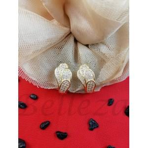 Дамски обеци в златен цвят от медицинска стомана и бели цирконий E - 21775