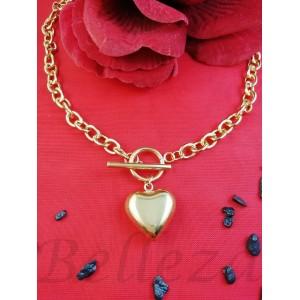 Колие с висулка сърце в златен цвят от медицинска стомана N - 21661