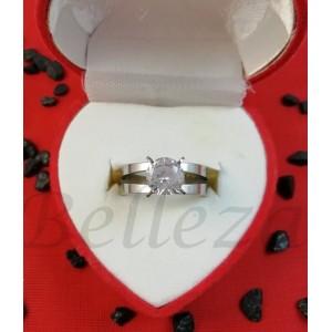Дамски пръстен в сребърен цвят от медицинска стомана R - 646