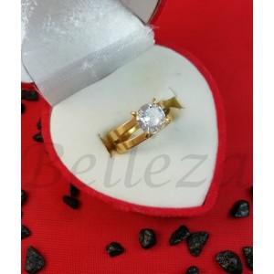 Дамски пръстен в златен цвят от медицинска стомана и бял цирконий R - 647