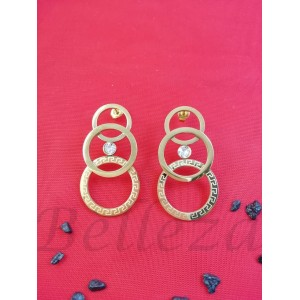 Дамски обеци с винт в златен цвят от медицинска стомана E - 21774