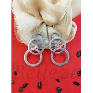 Дамски обеци с винт в сребърен цвят от медицинска стомана E - 21773
