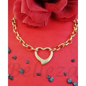 Колие с висулка сърце в златен цвят от медицинска стомана N - 21666
