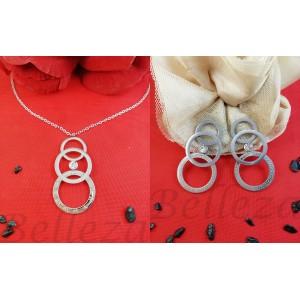 Комплект от колие и обеци в сребърен цвят от медицинска стомана и цирконий S - 2254