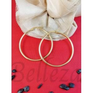Дамски обеци тип - халки със златна баня от медицинска стомана E - 21728