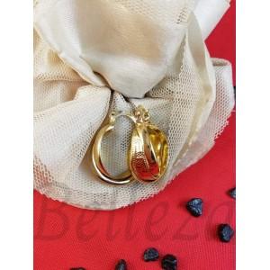 Дамски обеци тип - халки със златна баня от медицинска стомана E - 21730