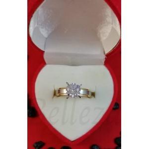 Дамски пръстен със златна и сребърнa баня от медицинска стомана и цирконий R - 621