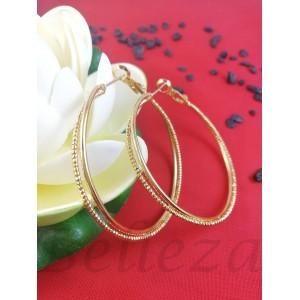 Дамски обеци тип - халки в златен цвят от медицинска стомана E - 21757