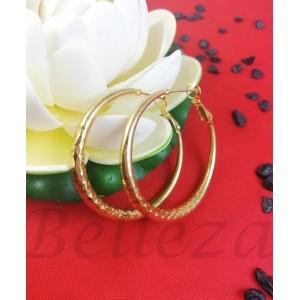 Дамски обеци тип - халки в златен цвят от медицинска стомана E - 21745