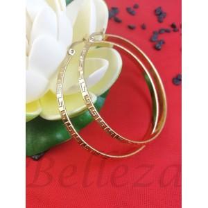 Дамски обеци тип - халки в златен цвят от медицинска стомана E - 21748