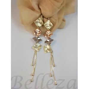 Дамски обеци с цвят матово злато, розово злато и сребърен цвят E - 21752