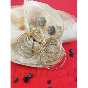 Дамски обеци в златен цвят от медицинска стомана E - 21755