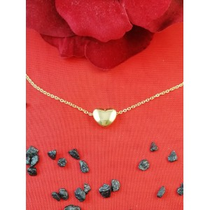Колие и висулка сърце със златна баня от медицинска стомана N - 21587