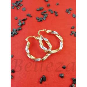 Дамски обеци тип - халки със златна и сребърна баня от медицинска стомана E - 21687