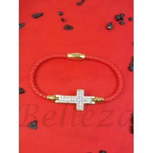 Гривна в златен цвят с червен конец B - 1583