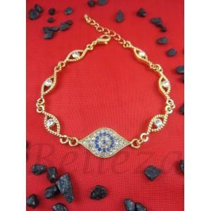 Дамска гривна със сини и бели камъни, златна баня от медицинска стомана B - 1233