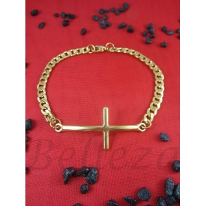 Гривна със златна баня от медицинска стомана с кръст B - 1454