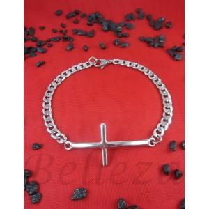Гривна в сребърен цвят от медицинска стомана и кръст B - 1455