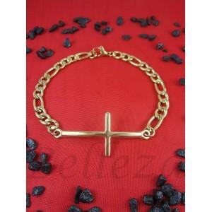 Гривна в златен цвят от медицинска стомана и кръст B - 1452