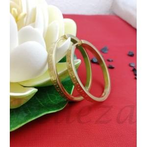 Дамски обеци тип - халки в златен цвят от медицинска стомана E - 21769