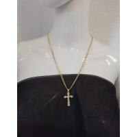 Ланец с висулка кръст в златен цвят от медицинска стомана N - 21646