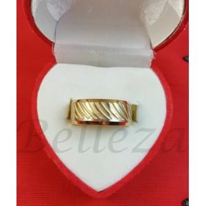 Пръстен тип-халка в златен и сребърен цвят от медицинска стомана R - 641
