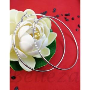 Дамски обеци тип - халки в сребърен цвят от медицинска стомана E - 21770