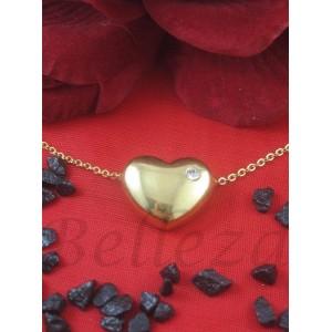 Дамско колие и висулка сърце със златна баня от медицинска стомана и цирконий N - 21309