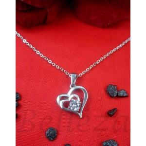 Дамско колие и висулка сърце, сребърна баня от медицинска стомана и цирконий  N - 21308