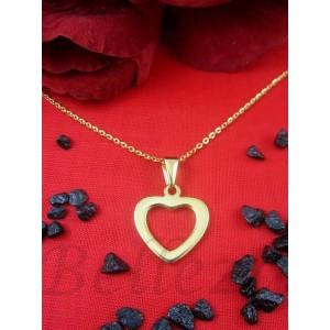 Дамско колие и висулка сърце със златна баня от медицинска стомана N - 21310